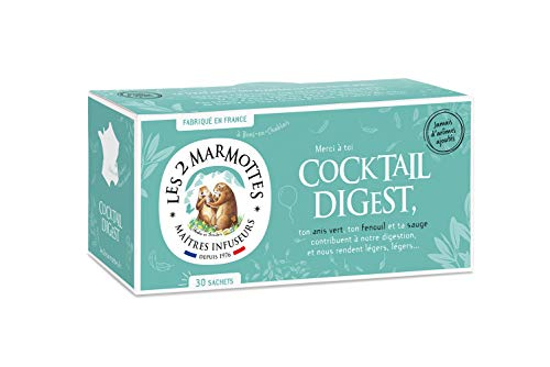 Les 2 Marmottes - Infusion Cocktail Digest 30 sachets - Anis Vert, Fenouil et Sauge - Aide à la Bonne Digestion - Idéal fin de repas - Chaud ou Froid - Made In France - Sans arômes ajoutés - 55g