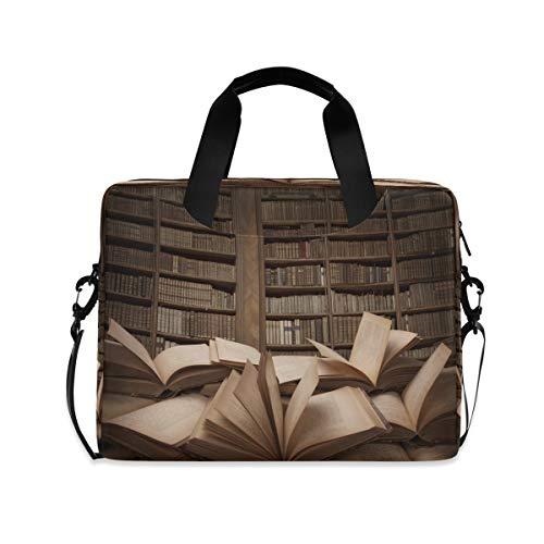 Laptoptasche mit offenem Buch auf dem Tisch, Aktentaschen, Computer-Tragetasche, 40,6 cm (16 Zoll), Schutzhülle mit Griff, mehrere Taschen, niedliches Design