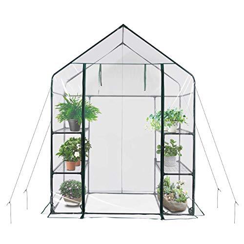 SavingPlus Walk In Greenhouse PVC Plastic Garden Grow Green House with 6 or 8 Shelves UK (6 Shelves)