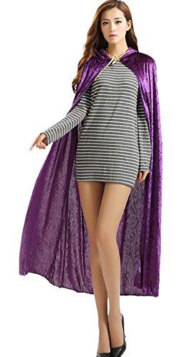 Urban CoCo Women's Costume Full Length Crushed Velvet Hooded Cape (Purple)