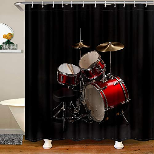 """Feelyou Drum Kit Fabric Bathroom Shower Curtain Rock Music Theme Waterproof Shower Curtains Musical Instrument Shower Curtain with Hooks Rock Band Decorative Curtain Black 72"""" Wx72 H"""