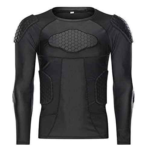 Camisetas de compresión acolchadas para hombre, equipo de protección seguro para el cuerpo, camiseta de fútbol, almohadilla protectora para hombros, costillas y columna, camiseta de manga larga(XXL)