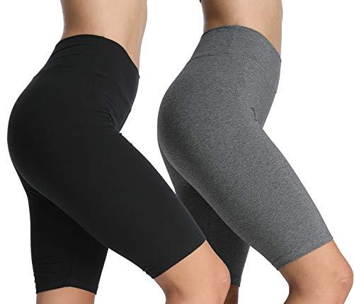 4How 2er Pack Damen Shorts Kurze Leggings Knielang Baumwolle blickdichte Sporthose Jogginghose Laufshorts Schwarz + Grau S
