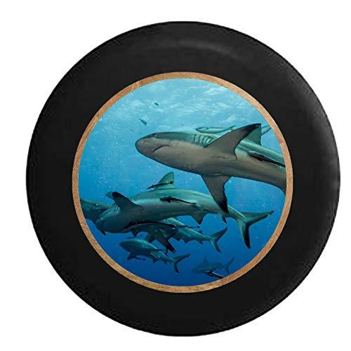 Hokdny Cubiertas De Neumáticos para Rueda De Repuesto Gran Barrera De Coral Grandes Tiburones Blancos Negro A Prueba De Polvo, Impermeable, Protección Solar Y Protección contra La Corrosión.