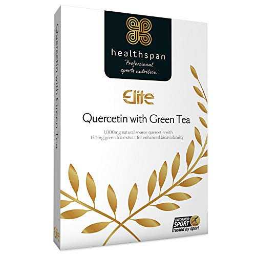 Quercetin with Green Tea   Healthspan Elite   90 Capsules   Official Partner of The All Blacks   Informed Sport Accredited   1,000mg Natural Source Quercetin   120mg Added Green Tea   Vegan