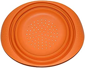 (Orange) - Silicone Collapsible Colander Fine Mesh Spaghetti Noodle Strainer 18cm Deep - Foldable for Kitchen Space Saving Storage Design 2.5cm Height - Durable Dishwasher Safe (Orange)