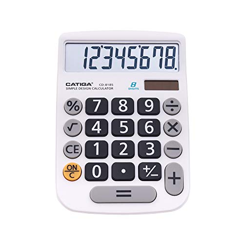 CATIGA CD-8185 Office and Home Style Calculator - 8-Digit LCD Display - Suitable for Desk and On The Move use. (White)