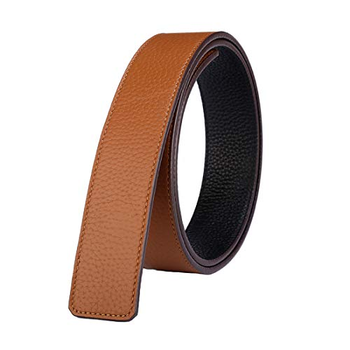 "Vatee's Reversible Genuine Leather Belts For Men/Women Replacement Belt Strap Without Buckle 1.5""(38mm) Wide 45""(115cm) Long Black & Yellow"