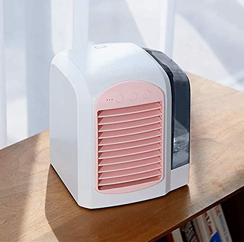 DNDN Desktop Cooling Fan Mini Air Conditioner, Personal Air Cooler Evaporative Coolers Portable Personal Space Arctic Air (Pink)