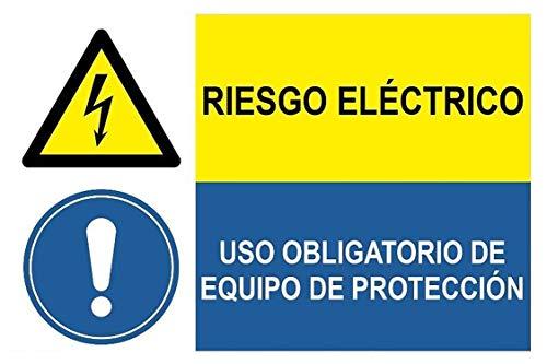 MovilCom® - Adhesivo combinado ¡PELIGRO! RIESGO ELECTRICO/USO OBLIGATORIO DE EQUIPO DE PROTECCION...