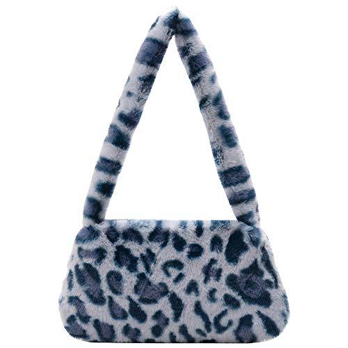 liuwei Bolso bandolera mullido de moda, diseño de animales retro en las axilas para mujer, mini bolso de hombro de felpa