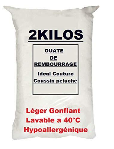L22G 2 Kilos De Ouate de Rembourrage Fibre Polyester Hypoallergénique, Fibre Synthétique Lavable - Sac 2 kg pour Le Garnissage de Coussins, Jouets, Peluches, Mercerie, Couture, Bourre, Textile