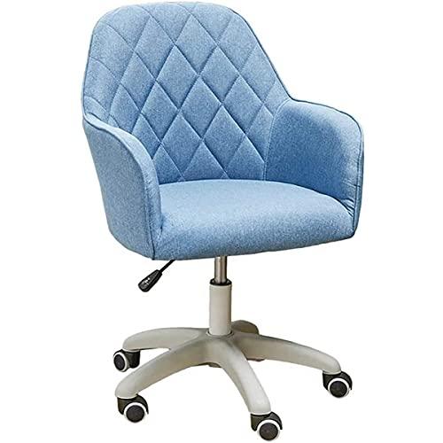 GGHHJ Gamingstuhl, komfortabler und Stabiler ergonomischer Bürostuhl Schwenkstuhl Leinen gepolsterter mittel- und arm Einstellbarer Lordosenstütze Computerstuhl nach Hause (Color : Light Blue)