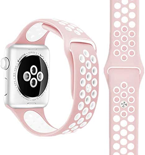 DEVICE OF URBAN INFOTECH Premium Soft Silicone Sporty Look Dual Color Breathable Strap Band for for Size 38 40MM 42MM 44MM Apple Smart Watch Strap for Watch Series 1 2 3 4 5 6 watch not included pink white
