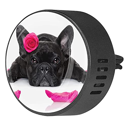 2 Packs Car Diffuser With Clip Air Fresheners,French Bulldog for Valentine's Day,Aromatherapy Essential Oil Portable for bedroom