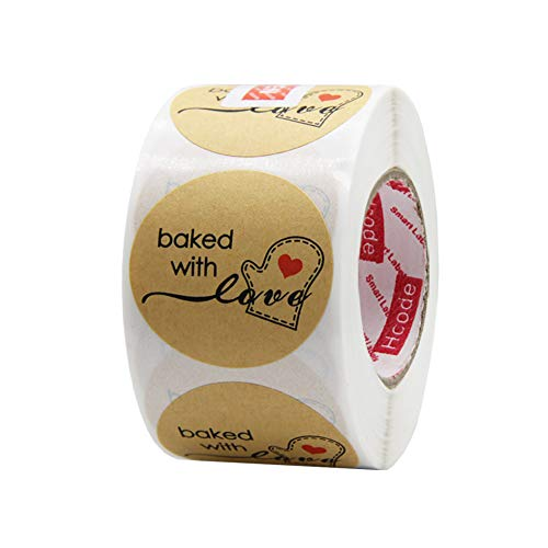 Hcode 500 Natural Kraft Paper Round Baked with Love Stickers with Red Heart in Baking Gloves 1.5 Inch Adhesive Label (1 roll, Kraft Baked with Love)
