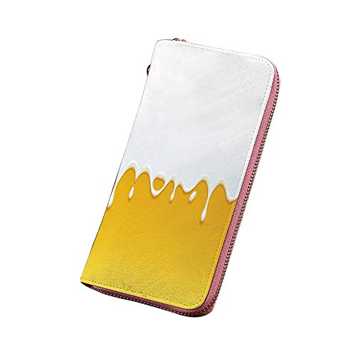 黄色と白 財布 長財布 滴る白いミルククリームペイントヨーグルトに黄色の蜂蜜背景印刷装飾 ラウンド ファスナー開閉/二つ折り長財布 黄色の白
