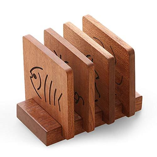 wantanshopping Posavasos Coaster Almohadilla de Aislamiento de Madera Maciza Ebony Wood Pot Bowl Bowl Mat Anti-Hot Pad Coaster Set Tray Portavasos