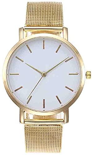JZDH Mano Reloj Reloj de Pulsera Moda Mujeres Relojes Personalidad Relojes Rosa Relaja Reloj Reloj de Pulsera para Mujer Reloj de Las Damas Relojes Decorativos Casuales (Color : Golden)