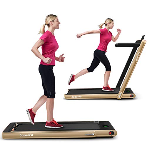 GYMAX Under Desk Treadmill, Foldable Multifunctional Running Treadmill/Flat Walking Machine, Portable Electric Motorized Running Machine with Bluetooth Speakers, Remote Controller for Home/Gym (Gold)