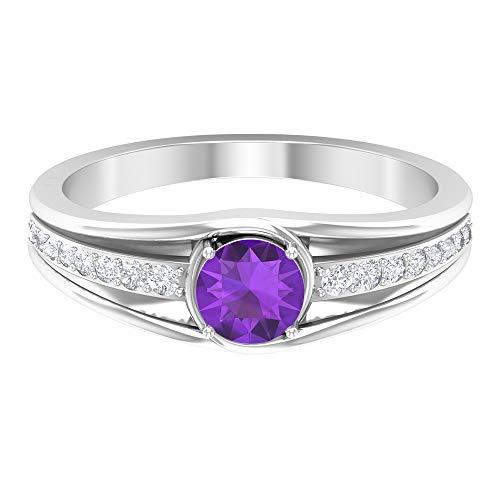 Anillo de amatista de 5 mm, anillo de diamante HI-SI, anillo solitario con piedra lateral, anillo de compromiso de bypass, anillo de promesa simple para ella, 14K White Gold, Amethyst, Size:US 45