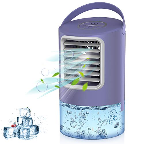 Personal Air Cooler, Portable Air Conditioner Fan, Mini Space Evaporative Cooler with Timing, 3 Speeds Quiet Air Humidifier Misting Fan, Small Desk Cooling Fan for Room, Home, Office, Dorm