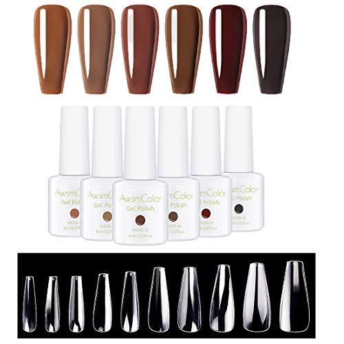 500pcs Coffin Nail Tips Press on Nails Long Ballerina Nails Clear Full Cover Acrylic Nails False Nail Tips 10 Sizes with Brown Gel Nail Polish Set