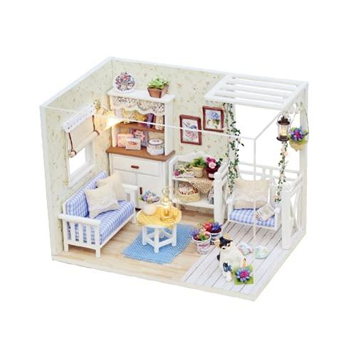 Casa de muñecas de madera, menor tiempo de producción sin batería, muebles de bricolaje en miniatura con juego de accesorios y herramientas para la fiesta de cumpleaños para regalos