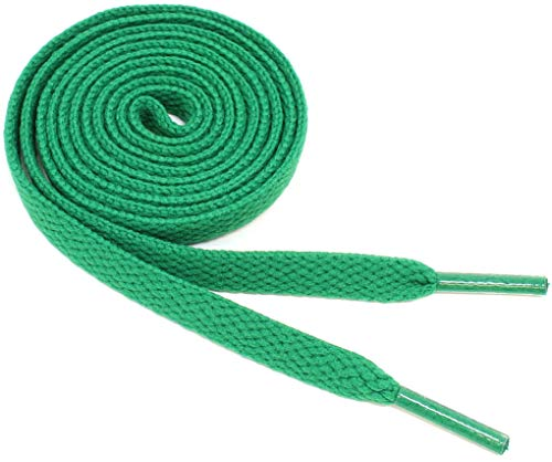 """Flat Shoelaces 5/16"""" Wide Solid Colors Several Lengths For Sneakers and Shoes (Green-36)"""