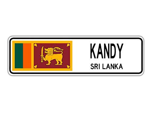 Kandy Sri Lanka Straßenschild Sri Lanka Flagge Stadt Land Straße Wand Geschenk Straßenschild 10,2 x 40,6 cm