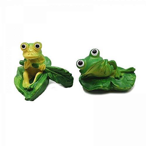 N\C Figura decorativa de rana en barco con diseño de animales de juguete, decoración de bonsái, decoración en miniatura para el hogar de hadas y jardín, accesorios de bricolaje