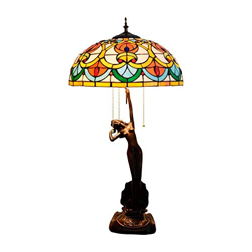 Estilo Tradicional Pastoral Moda 40 Cm Tiffany Lámpara De Mesa De Cristal Manchada Hecha A Mano Lámpara De Mesa De Vidrio Lámpara De Estar Sala De Estar Dormitorio