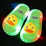 Perferct Zuecos Cross Mujer,Zapatillas Luminosas LED, Zapatillas Antideslizantes de Soft-SOBLED PVC, Sandalias de baño para niños, Chicas y Chanclas, niños pequeños-Verde Claro a_Yo 30