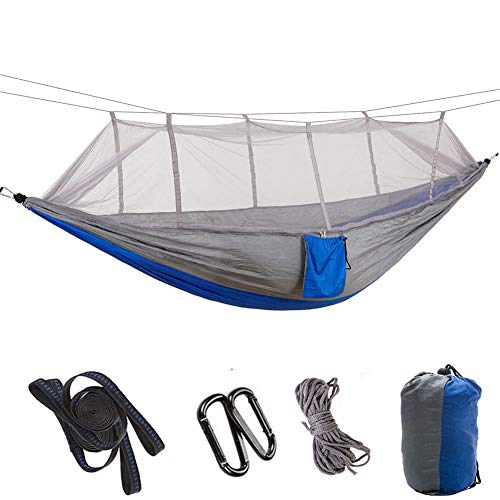 HUANXI MultifunctionDoubleSwing Hammock with Storage Bag + Strap,300kg Load Capacity (260x140cm) Gray Hanging Hammock for Travel, Patio Furniture, Survival Gear