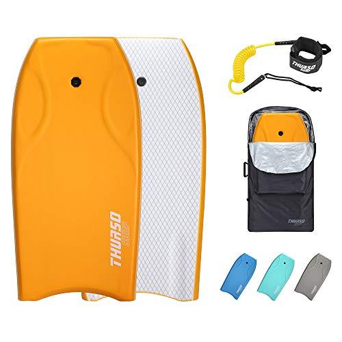 THURSO SURF Lightning 42'' Bodyboard PE Core IXPE Deck HDPE Bottom FRP Stringers Bottom Channels Pro Performance Durable Lightweight Incl. Stainless Steel Double-Swivel Leash Bodyboard Bag (Tangerine)