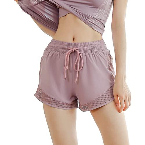 Pantalones Cortos de Verano para Mujer, Pantalones Deportivos de Cintura elástica elástica de Color sólido Simple, Pantalones Cortos Holgados Informales de Bolsillo Transpirables para Yoga L