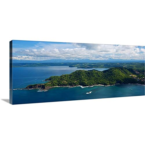 "GREATBIGCANVAS Gallery-Wrapped Canvas Island in Pacific Ocean, Four Season Resort, Papagayo Bay by 60""x27"""