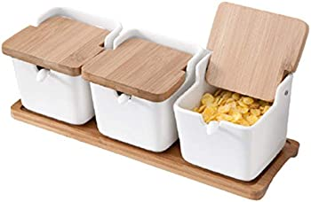 3-Pack Ceramic Condiment Pot with Wood Tray