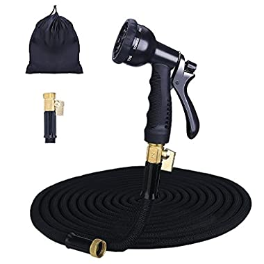 Gospire 100ft Expandable Garden Hose - 2018 Strongest Water Hose with Triple Latex Core+On/Off Valve+3/4 Brass Connectors+8 Pattern Spray and Storage Sack - Doesn't Leak & Kink, Extra Strength Fabric
