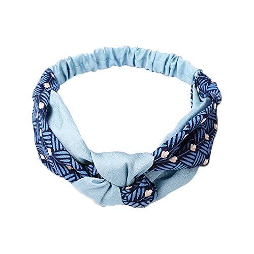 Gysad - Diadema elástica para mujer, diseño de rayas cruzadas 50 cm turquesa
