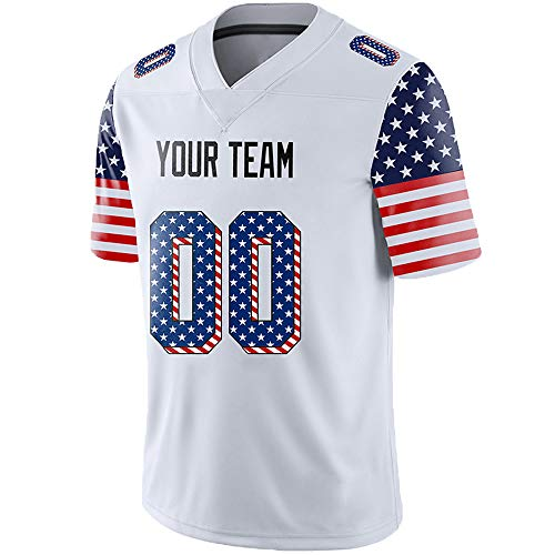 Pullonsy American Flag Custom Football Jerseys for Men Embroidered Team Name and Your Numbers,White-US Flag,Size M