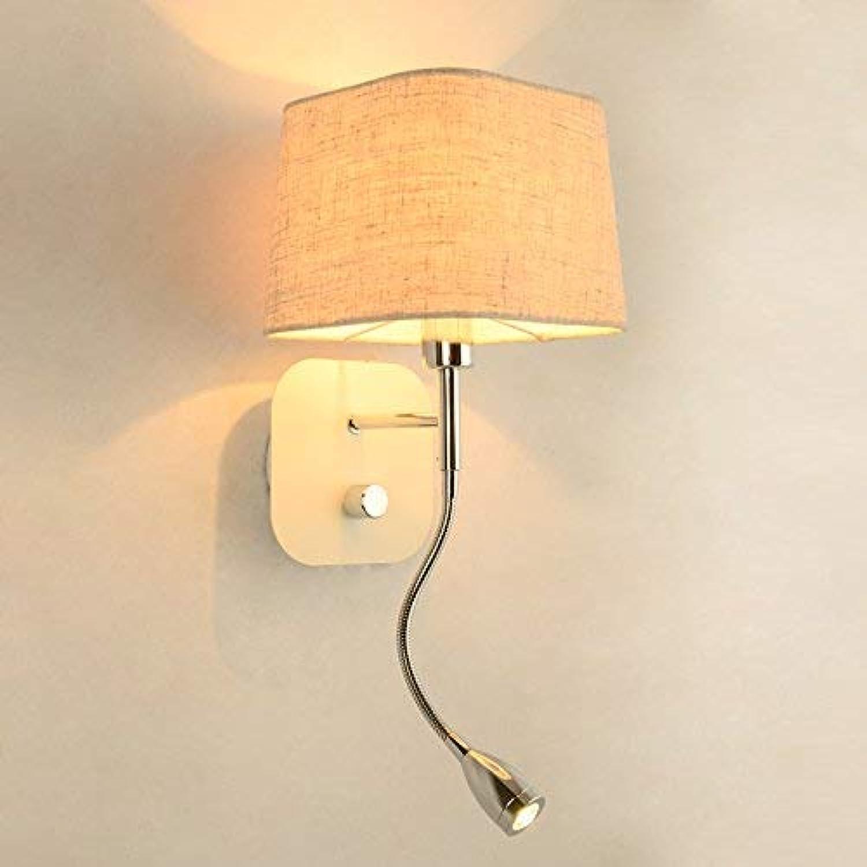 Wghz Kreative Mode Nachttischlampe Led Wandleuchte Einfache Moderne Hotel Schlafzimmer Wohnzimmer Mit Schalter (Farbe  Beige)