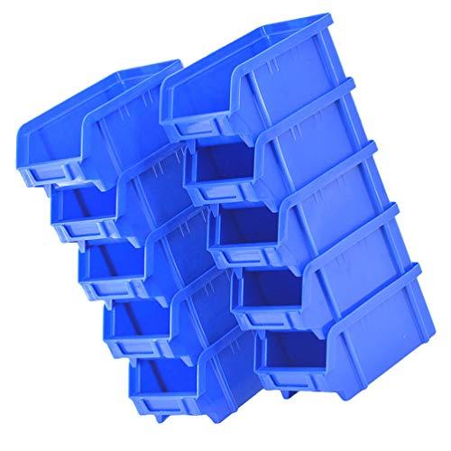 Cabilock 10cs - Contenitore impilabile da appendere, per organizzare in plastica magazzino, mini cassetta degli attrezzi, colore: Blu