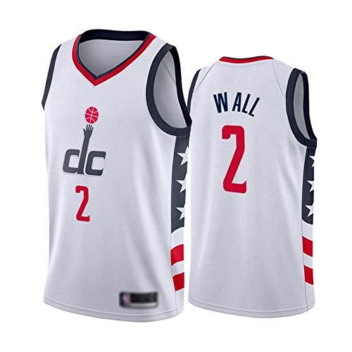 Jerseys De Baloncesto para Hombres, Asistentes De La NBA Washington # 2 John Wall - Ropa Deportiva Clásica Camiseta Sin Mangas, Tops De Confort Tops Uniformes,Blanco,S(165~170CM)