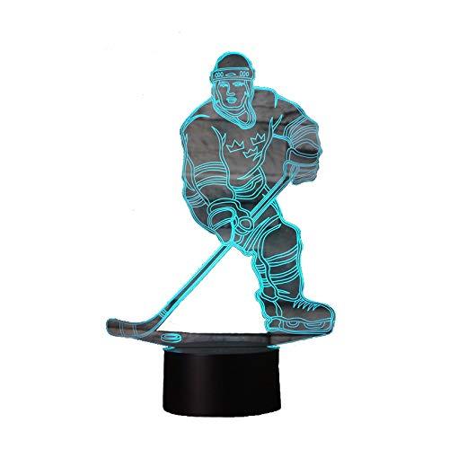 3D Lampe USB Power 7 Farben Erstaunliche Optische Täuschung 3D Wachsen LED Lampe Hockey Form Kinder Schlafzimmer Nachtlicht Geburtstagsgeschenk Weihnachtsgeschenk für Freunde Kinder
