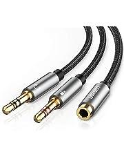 UGREEN Cable Separador de Audio y Micrófono, Adaptador Auriculares y Micrófono con Carcasa de Aluminio, Cable Splitter Divisor 3.5 mm Jack Hembra a Doble Macho, para Gaming Headset, PC o Laptop, 20cm