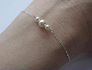 Fdesigner Fashion Pearls Bracelet Silver Simple Hand Chain Jewelry for Women and Girls on Any Occasion