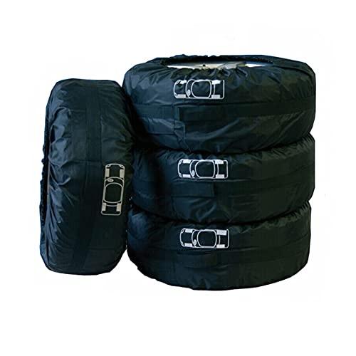 YXIUER Cubierta de neumáticos de Repuesto de Coche Negro 4pcs para el sedán de Invierno de Verano SUV Poliéster Auto News Protector Bolsas de Almacenamiento Accesorios de Rueda de vehículo
