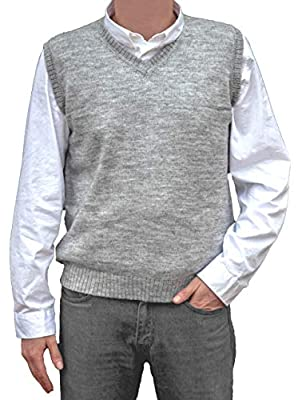 TINKUY PERU - 100% Peruvian Alpaca Wool - Mens Knit V-Neck Pullover Sweater Classic Vest - Heather Grey (X-Large) by