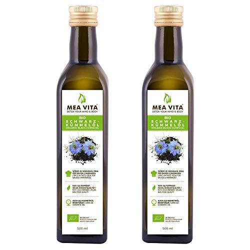MeaVita Bio Schwarzkümmelöl, kaltgepresst, 2er Pack (2 x 500 ml)